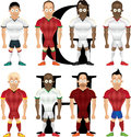 Vector cartoon illustration of soccer players isolated front view Royalty Free Stock Image