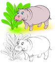 Colorful and black and white pattern for coloring. Illustration of cute hippo.