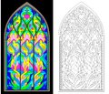 Colorful and black and white pattern of Gothic stained glass window.