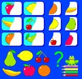 Logic exercise for children. Need to find the second parts of fruits and draw them in relevant places.