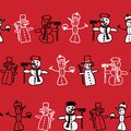 Vector Cartoon Image Of A Set Of Cute White Snowmen In Different Clothes With Different Attributes Of Christmas In Hands