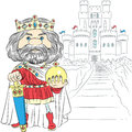Vector cartoon king charles the first in the crown fairytale with sword and globus cruciger before medieval castle Stock Photo