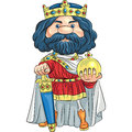 Vector cartoon king with a golden crown charles the first in the the sword and globus cruciger Stock Images