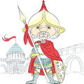 Vector cartoon knight in armor with a spear in fro fairytale front of the castle Stock Photo