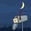 Vector Cartoon Mailbox At Night