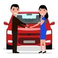 Vector cartoon man giving car keys to a woman
