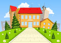 Vector cartoon modern school building Royalty Free Stock Photo