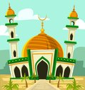 Vector cartoon mosque building illustration gold dome palm tree middle east scenery Royalty Free Stock Photo