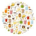 Vector cartoon non alcoholic drinks background Royalty Free Stock Photo
