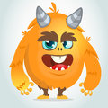 Vector cartoon of an orange fat and fluffy Halloween monster.Isolated