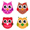 Vector cartoon owls set isolated on white Royalty Free Stock Photography