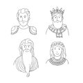 Vector cartoon portraits of ancient people