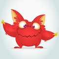 Vector cartoon red monster with big ears. Halloween fluffy red monster waving his hands.