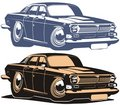 Vector cartoon retro muscle car Royalty Free Stock Photos