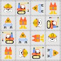Seamless pattern of construction equipments cartoo with funny worker