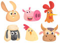 Vector cartoon set of farm animals. Rabbit, pig, rooster, sheep, chicken, cow Royalty Free Stock Photo