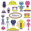 The vector cartoon set with flat aliens. Funny characters