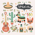 Vector cartoon set illustrations of mexican set in vintage color.