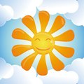 Vector cartoon smiling sun Stock Photography