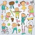 Vector cartoon sport players doodle character champion sportsmen Royalty Free Stock Images