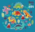 Vector cartoon sticker set of dinosaurs