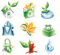 Vector cartoon style icon set. Part 20. Ecology Royalty Free Stock Photography