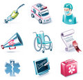 Vector cartoon style icon set. Part 26. Medicine Stock Photos