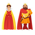 Vector cartoon style illustration of King and queen.