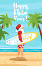 Vector cartoon style illustration of Santa surfer.
