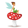 Vector cartoon style illustration of smiling fairy