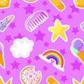 Seamless pattern with lipstick, stars