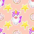 Seamless pattern with unicorn
