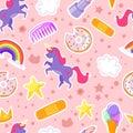 Seamless pattern with unicorn, stars