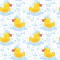 Pattern with yellow rubber duck Royalty Free Stock Photo