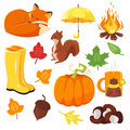 Vector cartoon style set of autumn symbols: fox, pumpkin, yellow boots