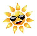 Vector cartoon sun character on white Royalty Free Stock Photos