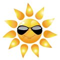 Vector cartoon sun character on white Stock Photo