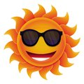 Vector cartoon sun with circle face and hipster sunglasses Royalty Free Stock Image