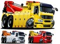 Vector cartoon tow truck. One-click repaint Stock Photos