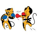 Vector cartoon two tiger cub cute young martial arts the kick in the fight Stock Images