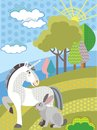 Vector cartoon unicorn and rabbit
