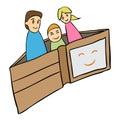 Vector cartoon wallet family