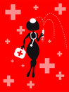 Vector cartoon woman background with medical icons Royalty Free Stock Image