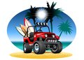 Vector cartoon 4x4 car on beach Royalty Free Stock Photo