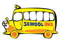 Vector cartoon yellow school bus isolated on white Stock Photo