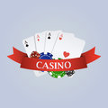 Vector casino illustration with ribbon, playing cards, dices Royalty Free Stock Photo