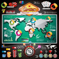 Vector casino infographic set with world map and gambling elements eps illustration Stock Photo