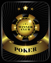Vector casino poker gold chip, template for design backgrounds, cards, logo.