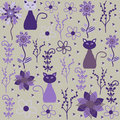 Vector cats seamless pattern and seamless pattern in swatch menu oriental can be used for wallpapers Royalty Free Stock Photography