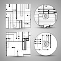 Vector cd cover set for your design circuit board illustration Stock Photography